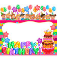 birthday bright frame with cake and cute kids vector image vector image