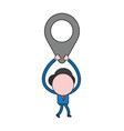 businessman character walking and holding up map vector image vector image