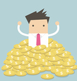 Businessman sitting in a pile of gold coins vector image vector image