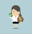 businesswoman holds in hand money vector image vector image