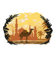 camel building and palm trees vector image vector image