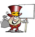 cartoon of a happy golden egg mascot holding a vector image vector image