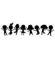 cartoon silhouettes children in a jump vector image