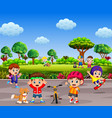 children are playing and doing sport together vector image vector image