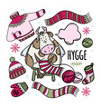 christmas cow knits winter clothes vector image vector image