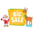 christmas sale design santa claus and deer vector image vector image