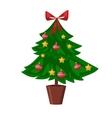 Christmas tree flat 3d isometric pixel art icon vector image vector image