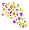 colorful pattern with food elements icon vector image