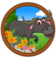 cute buffalo cartoon posing vector image