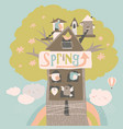 cute little birds and birdhouse on spring tree vector image vector image