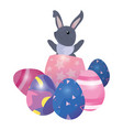 cute rabbit and eggs easter vector image
