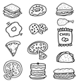 Doodle of food on white backgrounds vector image vector image