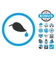 Ecology Leaf Flat Icon with Bonus vector image