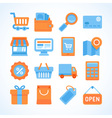 Flat icon set of shopping symbols vector image