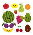 fruit characters isolated on white vector image vector image
