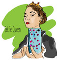 girl making selfie with smartphone doodle vector image