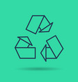 Green isolated linear icon - eco reuse symbol