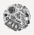 hand sketched french food and drinks french vector image