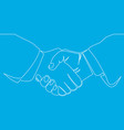 handshake line business agreement concept vector image vector image