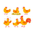 happy hen cartoon character in different poses vector image