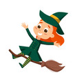 happy little witch flying on broom cute girl vector image vector image