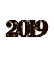 happy new year card black 3d number 2019 with vector image vector image
