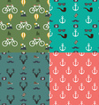 Hipster Colorful Seamless Pattern set Background vector image