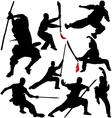 Kung fu Shaolin Martial Arts Fighter Silhouettes vector image