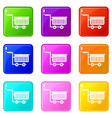 large plastic supermarket cart icons 9 set vector image vector image