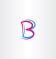 letter b cyan magenta icon symbol vector image