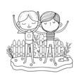 little kids couple in garden characters vector image vector image