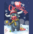 marry christmas bull in night vector image vector image