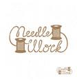 needle work label vector image vector image
