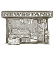 Newsstand Hand drawn press kiosk vector image vector image