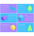 pentagrammic pentagonal and triangular prisms set vector image