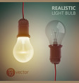 realistic filament bulbs background vector image vector image