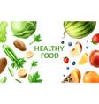 realistic healthy food organic fruit mix vector image