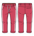 red joggers with elasticized ribbing vector image