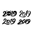 set handwritten numbers 2019 for new year vector image vector image