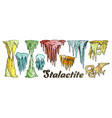 stalactite and stalagmite color set vector image vector image