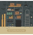 Storeroom interior with brickwall vector image vector image