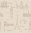travel seamless pattern europe vacation wallpaper vector image vector image