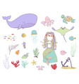 underwater life mermaid fishes and sea animals vector image