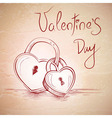 Valentine sketch card with two hearts vector image vector image