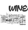what is in a bottle of wine text word cloud vector image vector image