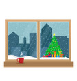 window overlooking the christmas tree vector image vector image