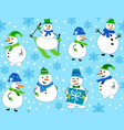 winter pattern with snowmen and snowflakes vector image vector image