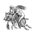 witch flies with a broom and a boar ancient vector image vector image