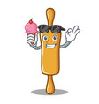 with ice cream rolling pin character cartoon vector image vector image