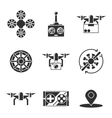 quadrocopter icons set vector image